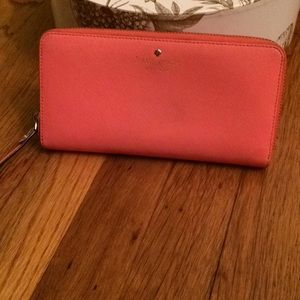 Kate spade zip around coral wallet